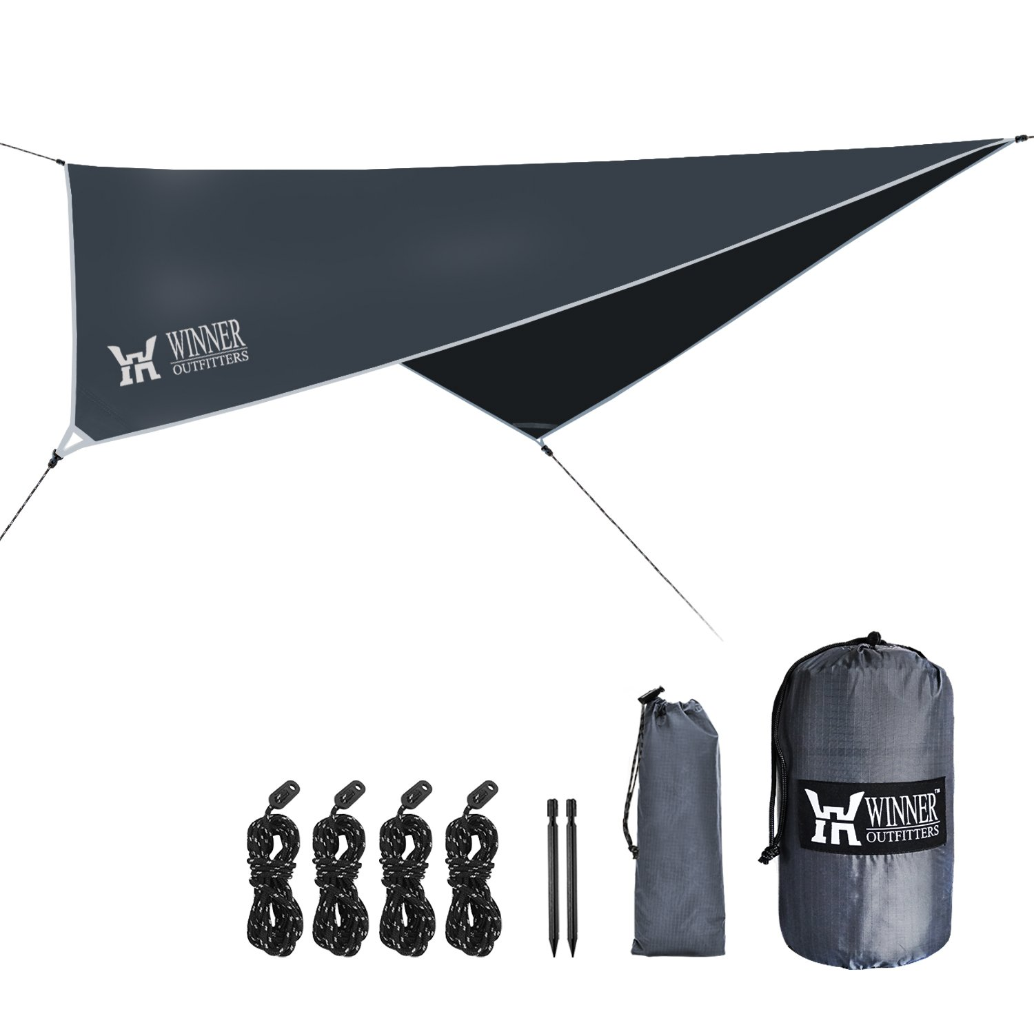 WINNER OUTFITTERS Hammock Rain Fly,Ripstop Nylon Waterproof Tent Tarp Shelter for Camping,Backpacking,Hiking in Sunshade,Moisture,Rain,Lightweight&Portable,Easy Set Up(Diamond) by WINNER OUTFITTERS