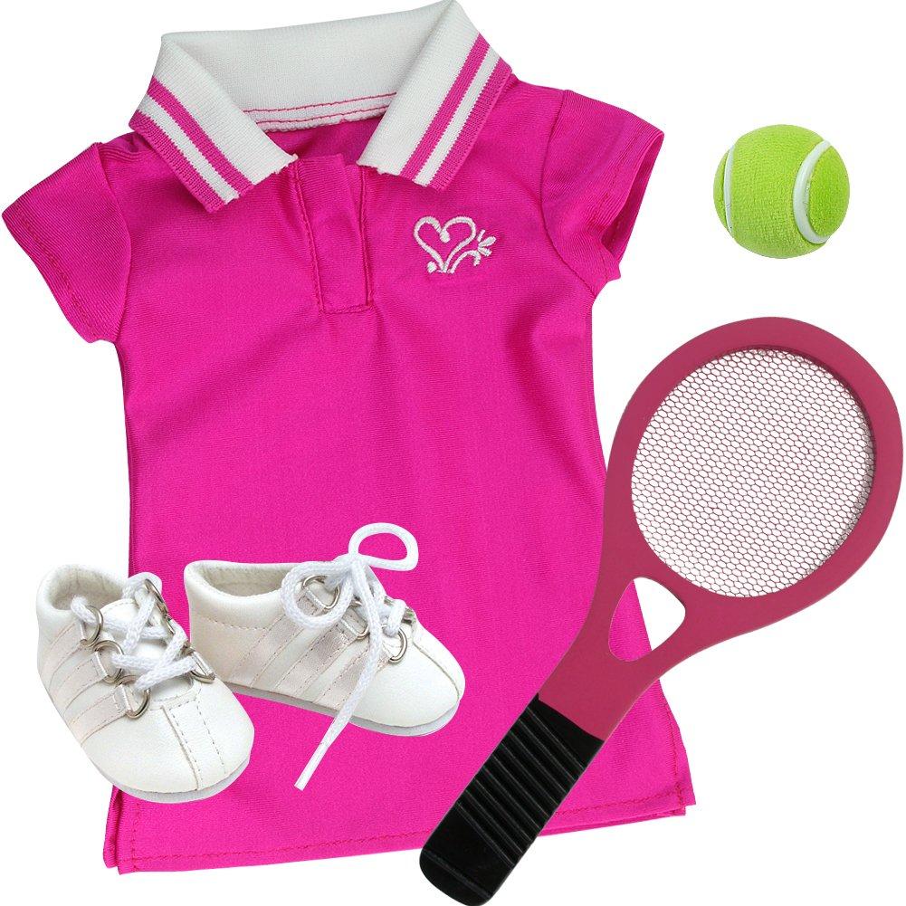 9c067d941b993 18 Inch Doll Tennis Dress, 4 Pc. Hot Pink Tennis Set Fits American Girl  Doll Clothes & More! Doll Dress, Doll Racquet, Ball & Shoes