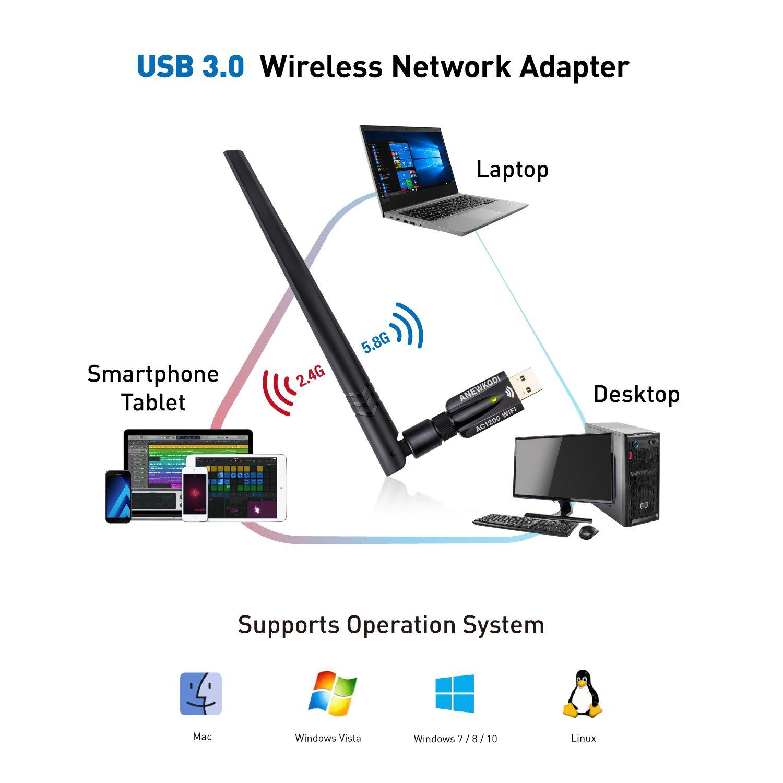 Vista Mac OS ANEWKODI 1200Mbps Adattatore WiFi USB 3.0 di Alta velocit/à WiFi Antenna 5dBi Dual Band 2.4GHz//5.8GHz Chiavetta WiFi 802.11ac Ricevitore WiFi Scheda WiFi per PC Windows 10//8.1//8//7