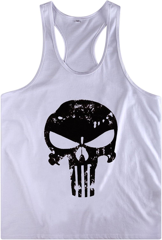 Fashion Story Men Skull Print Muscle Bodybuilding Gym Sleeveless Vest Tank Shirt T-Shirt Tops
