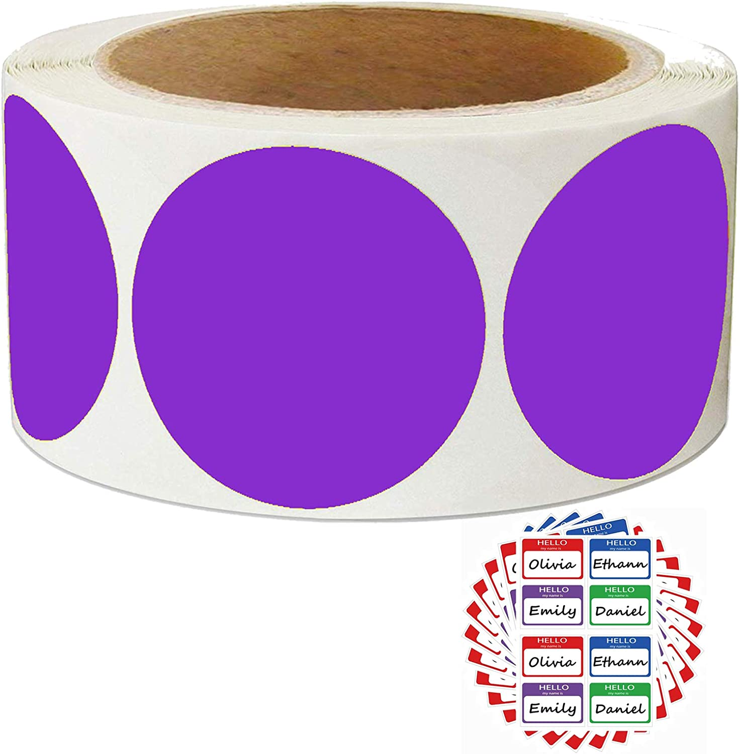 Fluorescent Purple Labels 2 inch Round Color Coding Dot Stickers - Permanent Color-Code Dot Labels 500 Adhesive Inventory Organizing Labels for Moving/Storage/Organizing/Color Coding/Arts
