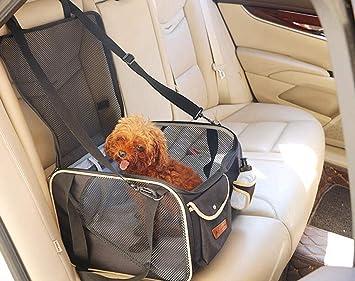 PETEMOO Seggiolino Auto per Cani da Compagnia Seggiolino Auto Traspirante Protettivo Zanzariere Borsa da Viaggio con Guinzaglio di Sicurezza per Cani di Piccola Taglia Cuccioli di Gatto