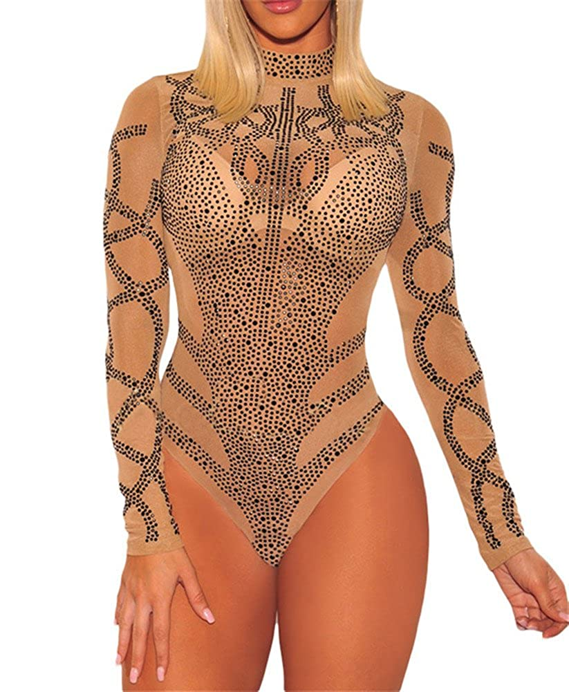 Ussuperstar Women's Sheer Long Sleeve Faux Bustier Mesh Bodysuit Gold Rhinestone Clubwear