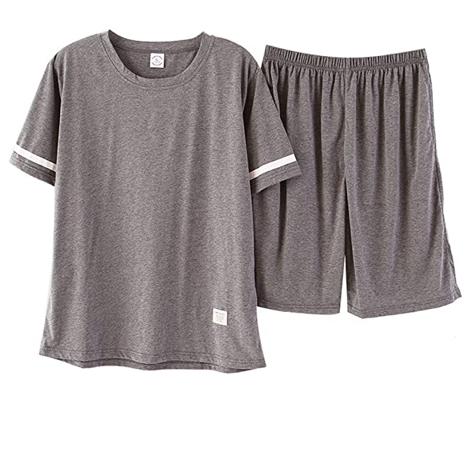 Hombres 100% Algodón Manga Corta Pijama Conjunto Pantalones Cortos y Parte Superior Ropa de Dormir Verano Salón Conjunto: Amazon.es: Ropa y accesorios