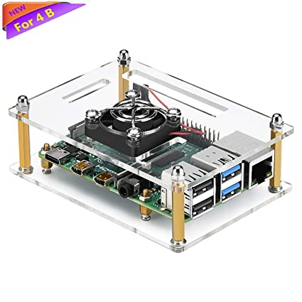 amazon com: iuniker raspberry pi 4 case, raspberry pi 4b case with fan  raspberry pi fan case for raspberry pi 4 model b/pi 3b+/ pi 3b/ 2b:  electronics