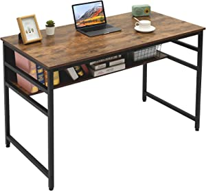 Gome Computer Writing Desk for Home Office - 47 inch Small Work Desk Table with Storage Shelf, Modern Simple Style Study Desk Gaming Desk with Bookshelf, Space Saving
