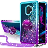 Silverback Galaxy S9 Case, Moving Liquid Holographic Sparkle Glitter Case with Kickstand, Bling Diamond Rhinestone…