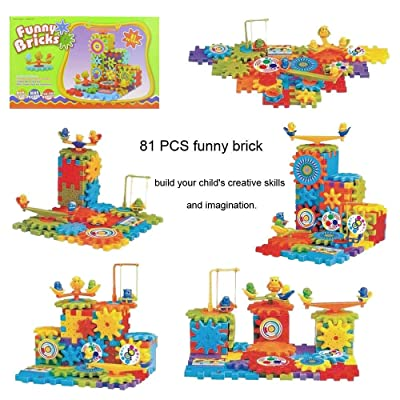 Khandekar Funny Building Bricks, 81 Pcs Bulk Building Block Set for Kids, Ideal Construction Toys, Bulk Basic Bricks Toys for Ages 3 4 5 6, Mixed Shapes: Toys & Games