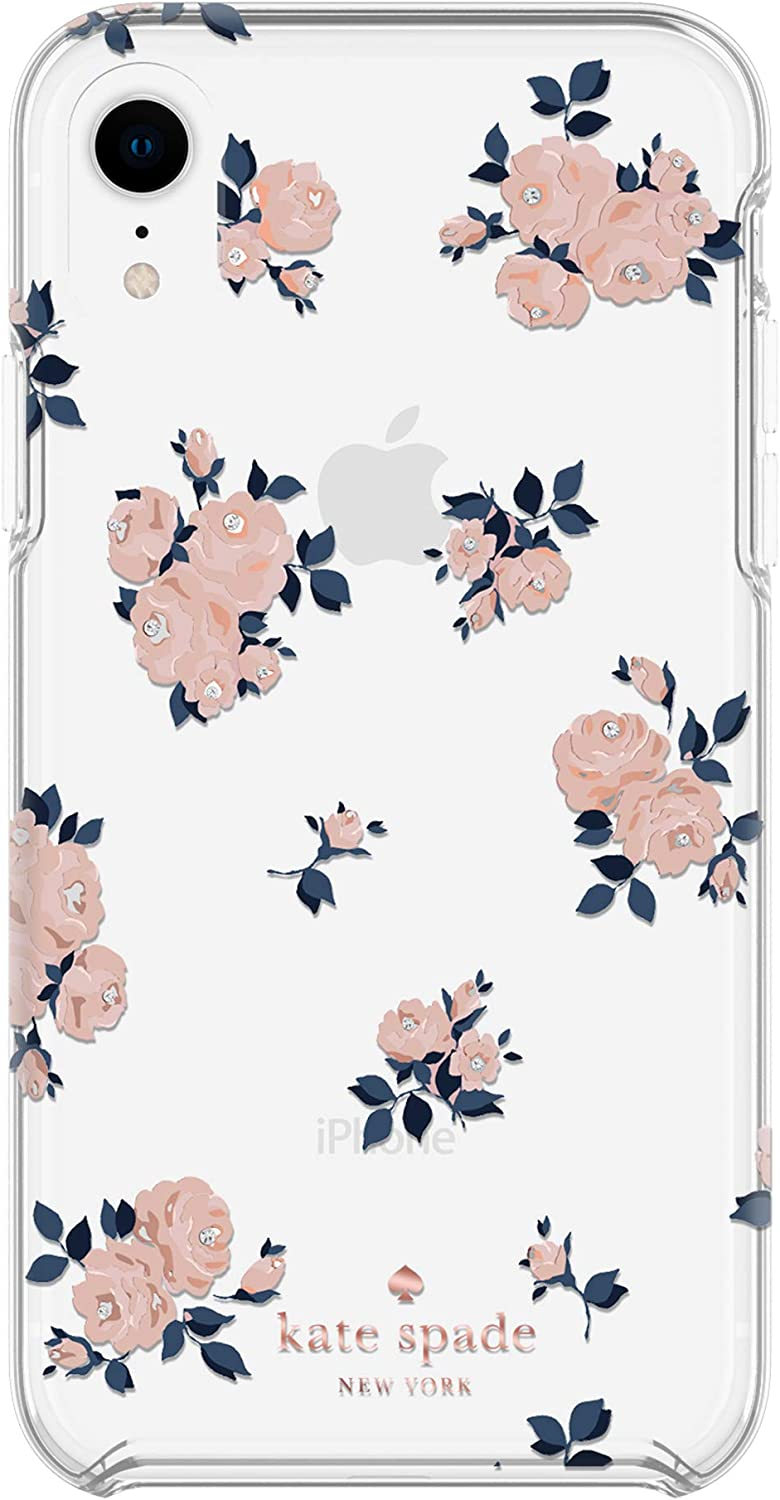 Kate Spade New York Phone Case | for Apple iPhone XR | Protective Phone Cases with Slim Design, Drop Protection, and Floral Print - Happy Rose Pink/Navy/Crystal Gems/Rose Gold/Gold/Clear