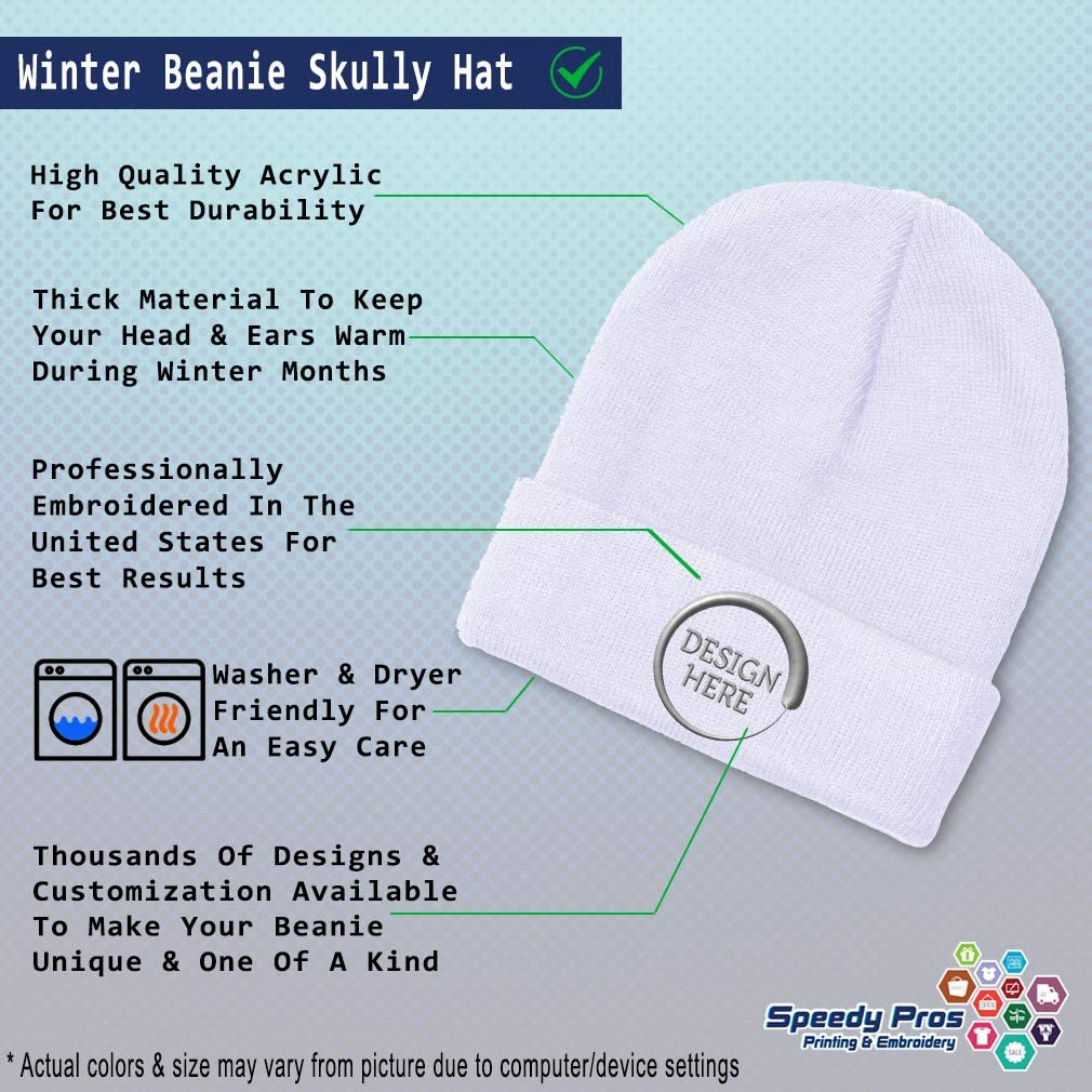 Custom Beanie for Men /& Women Ecuador A Embroidery Acrylic Skull Cap Hat