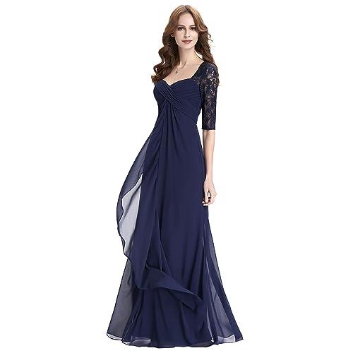 Kate Kasin Womens Chiffon 1/2 Sleeve Long Wedding Evening Prom Dress Navy Blue