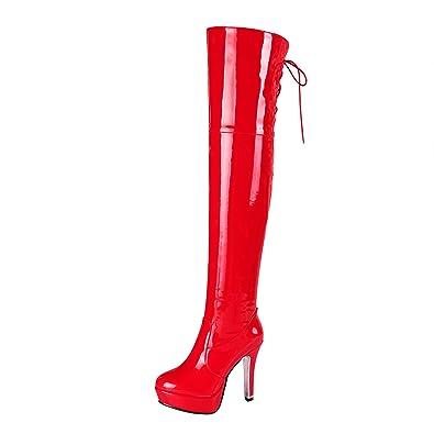 Lack Stiletto High Heels Stiefel Overknee Rot 41 Stiletto Absatz Schnürung