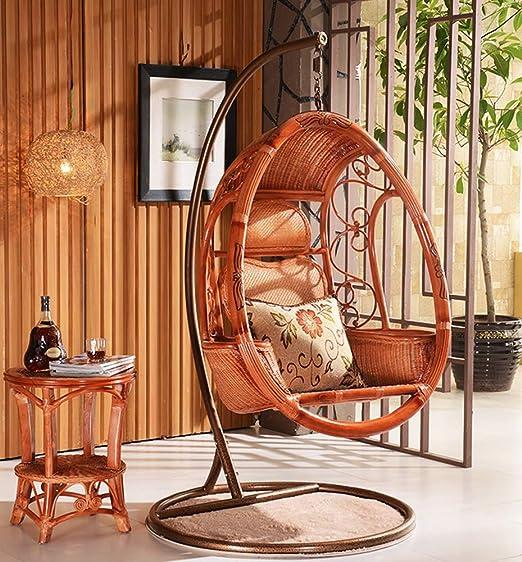 SMGPYHUYP Silla de Mimbre, Mecedora Suave Antideslizante con Cesta Colgante, Interior/balcón/jardín: Amazon.es: Hogar