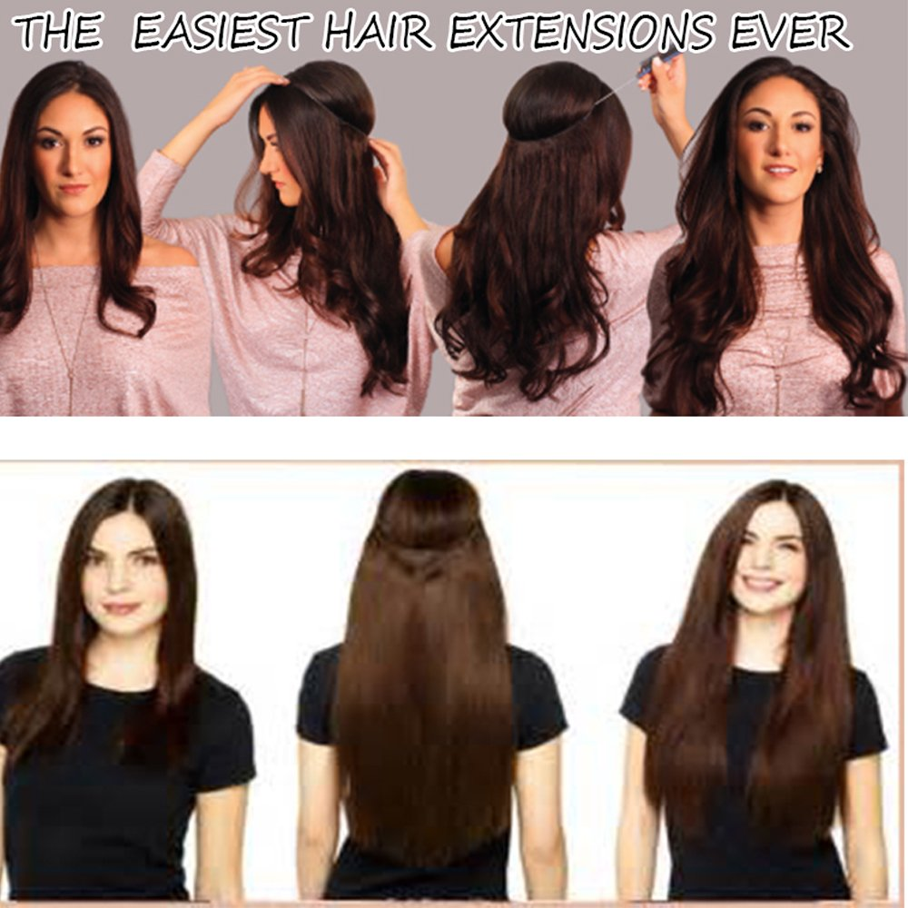 Hair Extensions 24 125g Invisible Wire No Clips In Full Head Hair
