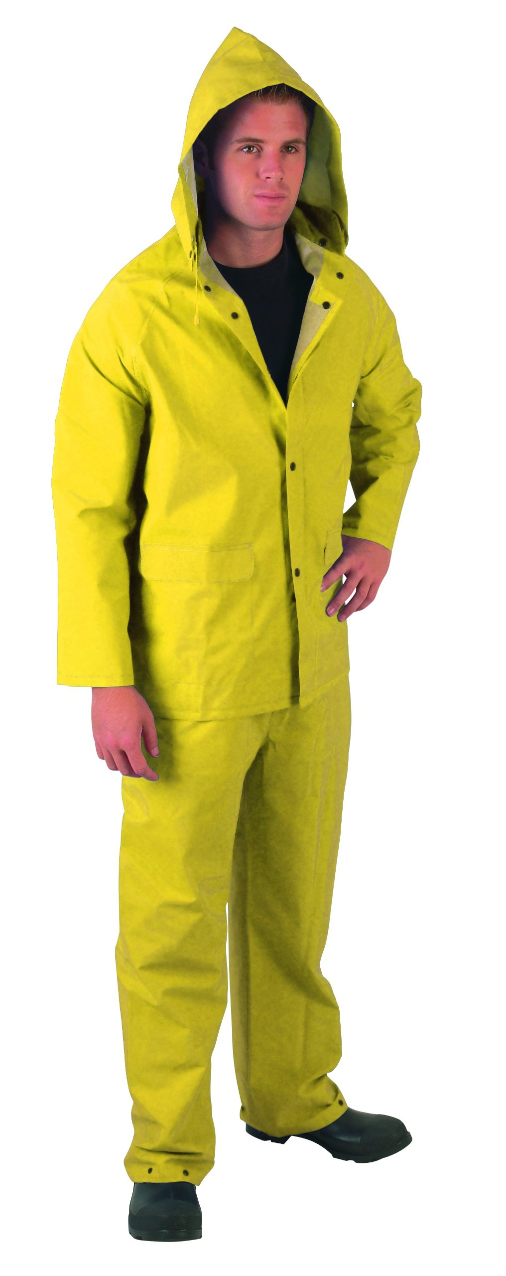 MCR Safety 2403S Classic Plus PVC/Polyester 3-Piece Corduroy Collar Rain Suit with Detachable Hood and Bibpant, Yellow, Small by MCR Safety (Image #2)
