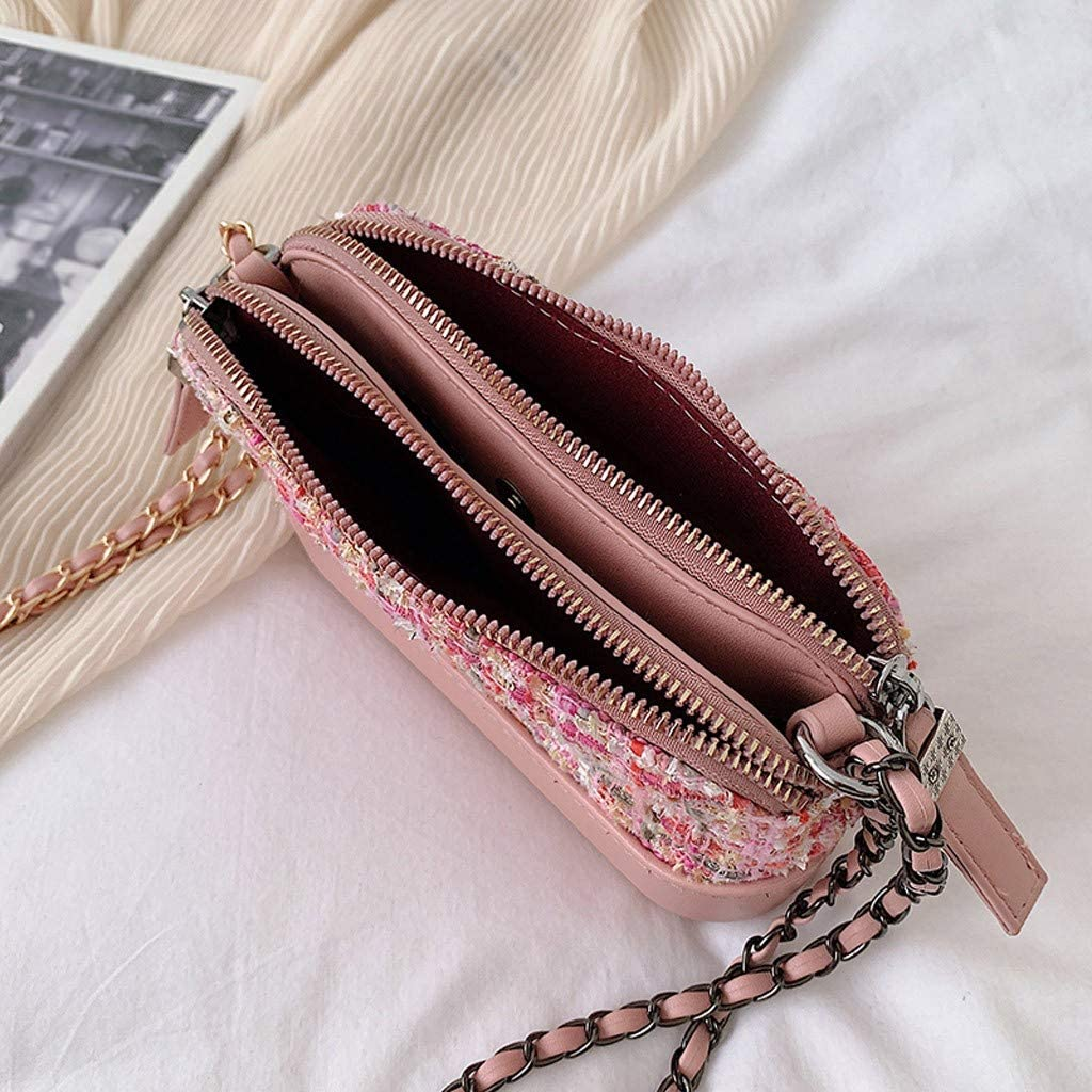 KingWo Womens Small Crossbody Bags One-Shoulder Chain Bag for Women Stylish Ladies Messenger Bags Purse and Handbags Pink