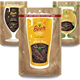 Beef Jerky Snack Pack -Wheat, Porter, IPA flavors. Beef Jerky Marinated in Craft Beer. Small Batch Premium Jerky