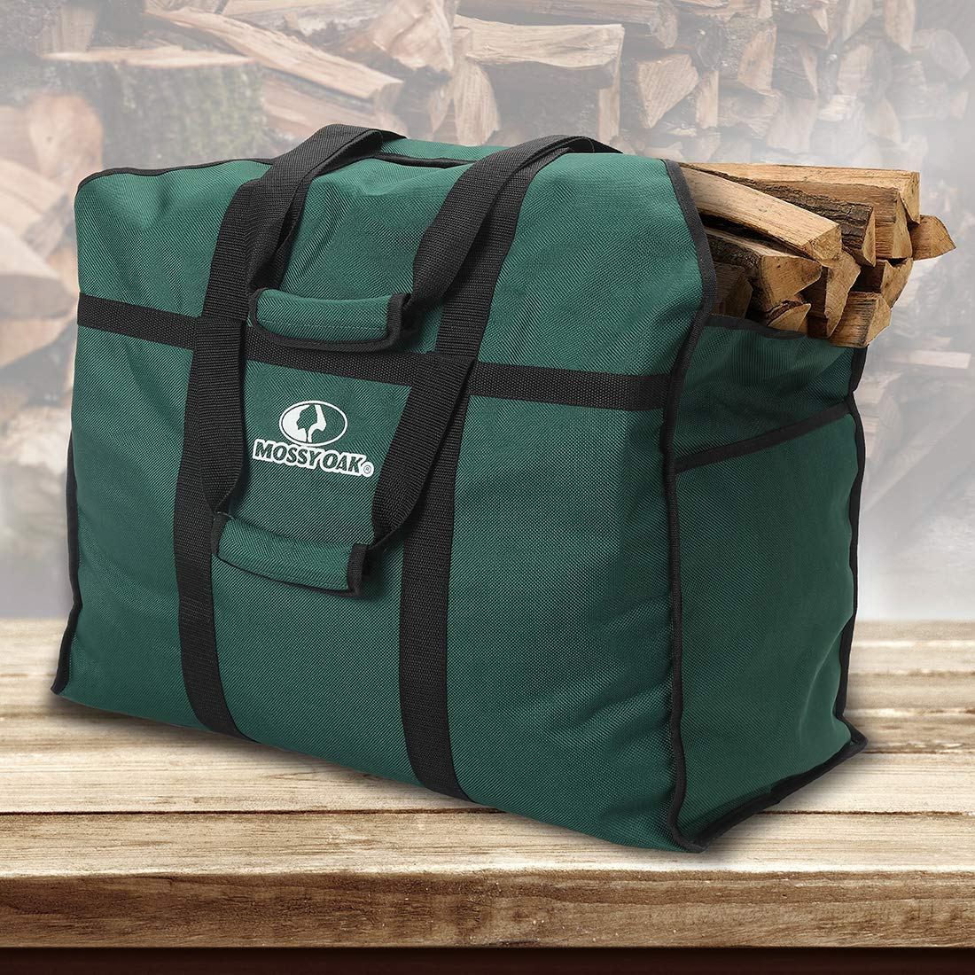 MOSSY OAK Firewood Log Carrier and Log Tote Bag for Fireplaces & Wood Stoves(Green) by Mossy Oak