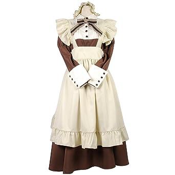 8mm 中世 カントリー ロング メイド コスプレ 衣装 ドレス レディースサイズ 大きいサイズ 5L ブラウン
