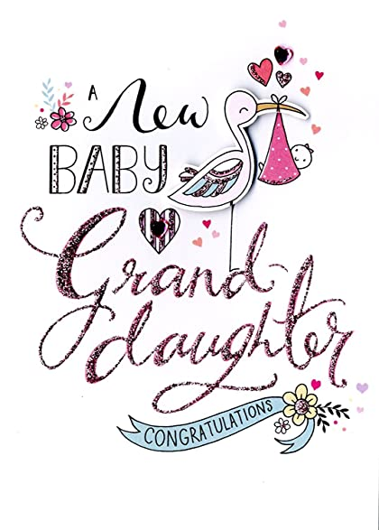 amazon com new born baby girl granddaughter greeting card second