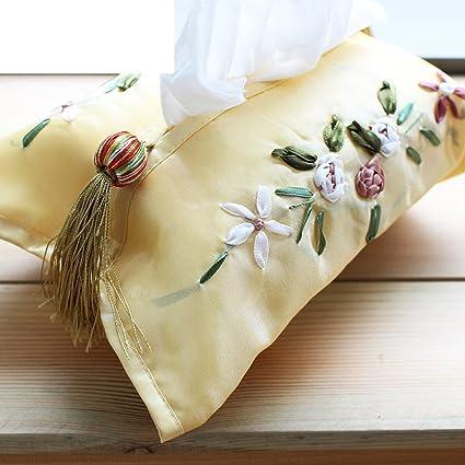 Cinta toalla del bordado/ caja de tejido pastoral/ tapa de la caja de tejido