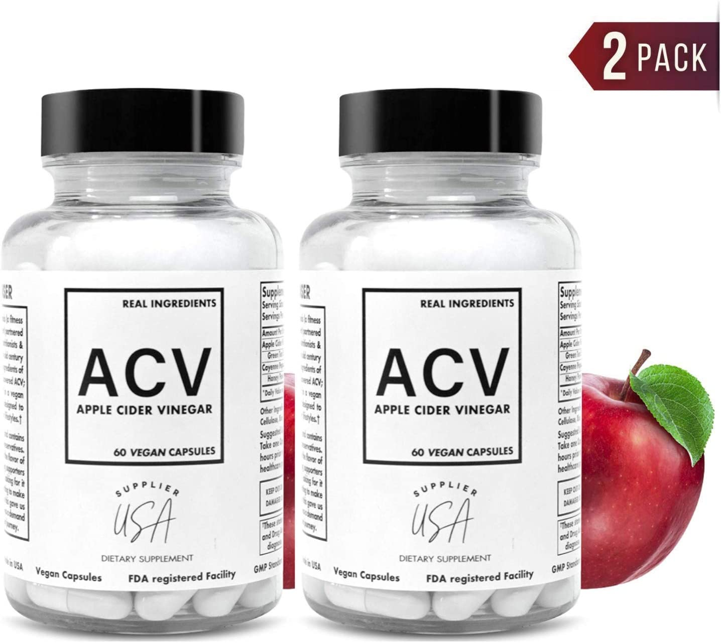 ACV Apple Cider Vinegar Capsules – Natural Powerful 500mg Premium-Non-GMO Vegetarian Cider Capsules, Made in USA FDA Facility – 2 Pack 120 Pills