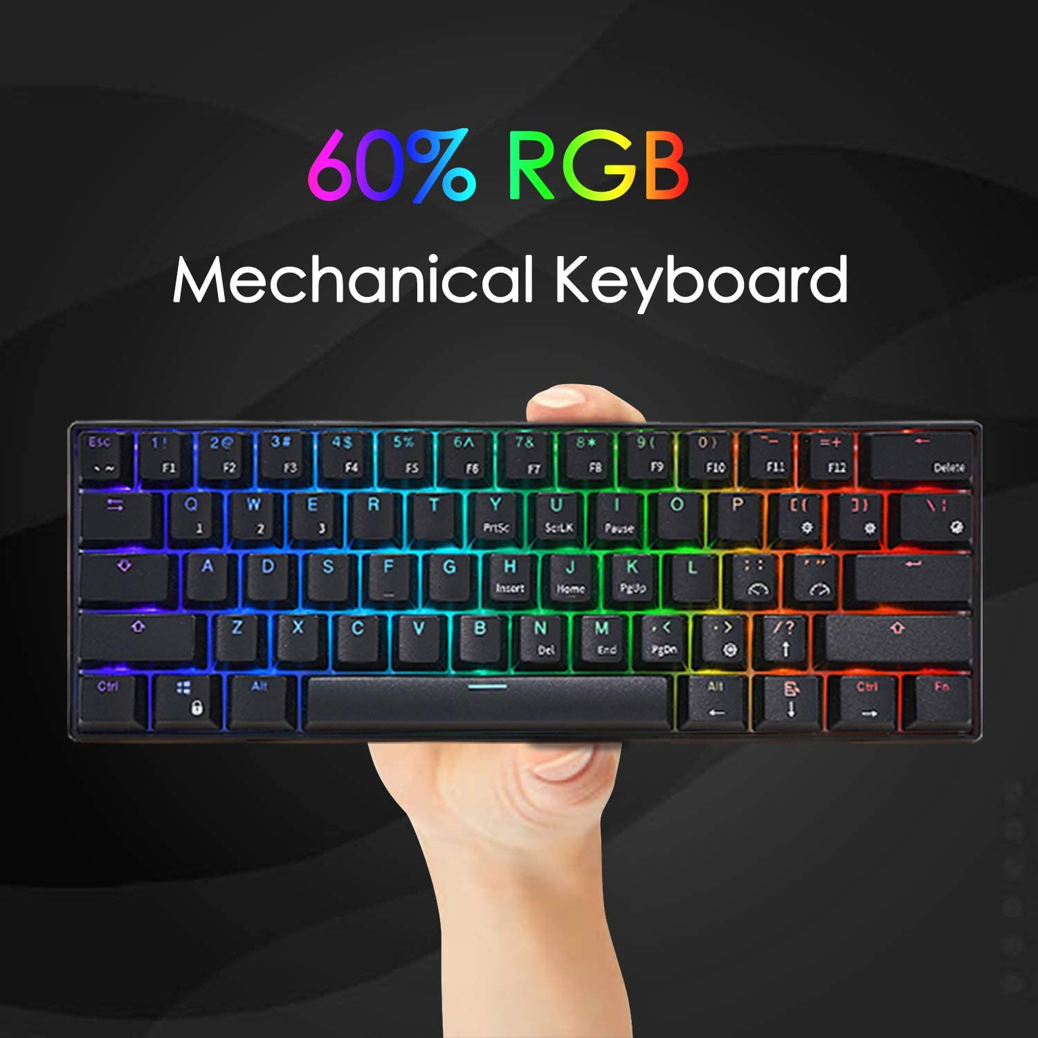 ROYAL KLUDGE RK RK61 Wired 60% Mechanical Gaming Keyboard RGB Ultra-Compact (Blue Switch) 2