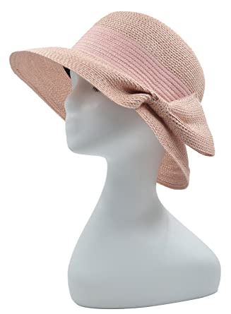 Melesh Soft Fashion Womens Summer Beach Sun Straw Hat (Pink) at Amazon  Women s Clothing store  36b6c9ddc411