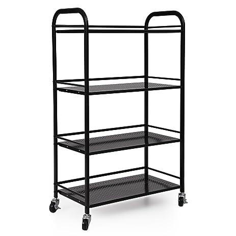 SONGMICS Heavy Duty 4 Shelf Shelving Unit On Wheels Utility Storage Cart  For Kitchen Pantry
