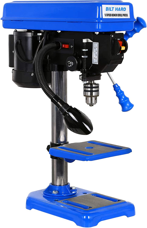 BILT HARD 8 in Drill Press, 5-Speed Benchtop Drill Press with Worklight