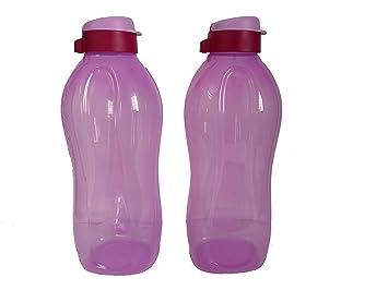 Tupperware Plastic Flip Top Bottle with Soft Cotton Handkerchief  2 L, Multicolour   Set of 2