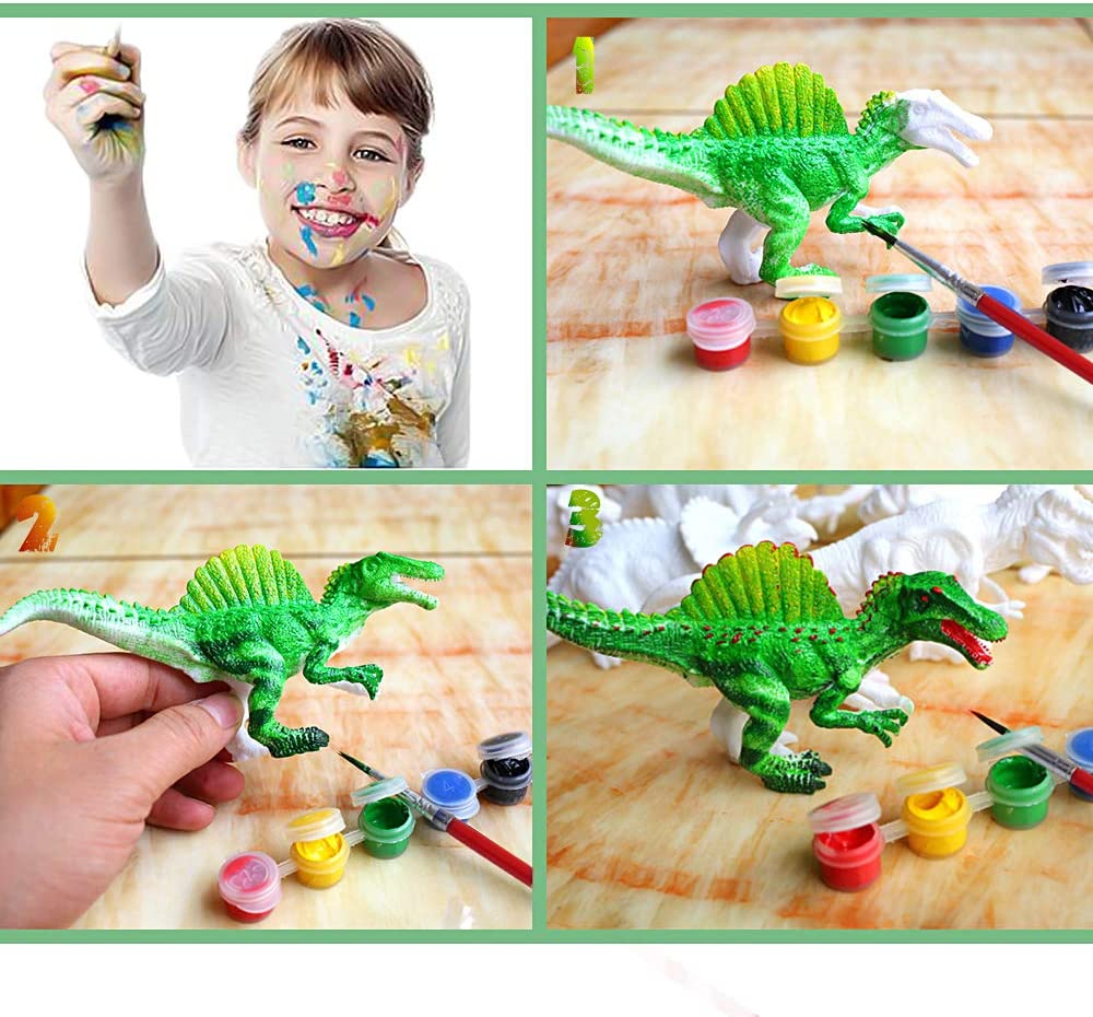 AINOLWAY 3D Painting Dinosaurs Arts and Crafts Decorate Your Own Dinosaur Figurines DIY Dinosaur Craft Kit Toys for Kids Ages 4 5 6 7 8 HD100114