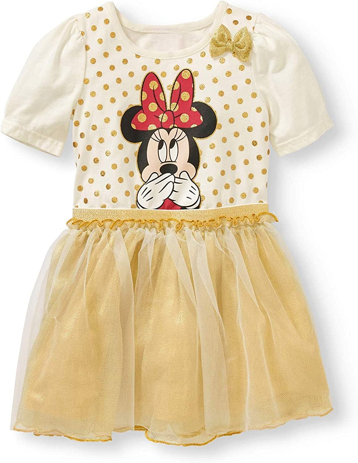 NEW Toddler Girl Dress Size 3T Minnie Mouse Short Sleeve Gold Skirt Party Outfit