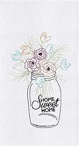 C&F Home Home Sweet Home Embroidered Flour Sack Towel White