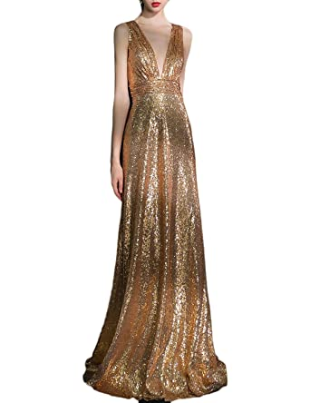 Odrobe Womens Sexy Long Deep V Neck Sequin Evening Dress Crisscross Prom Gown at Amazon Womens Clothing store: