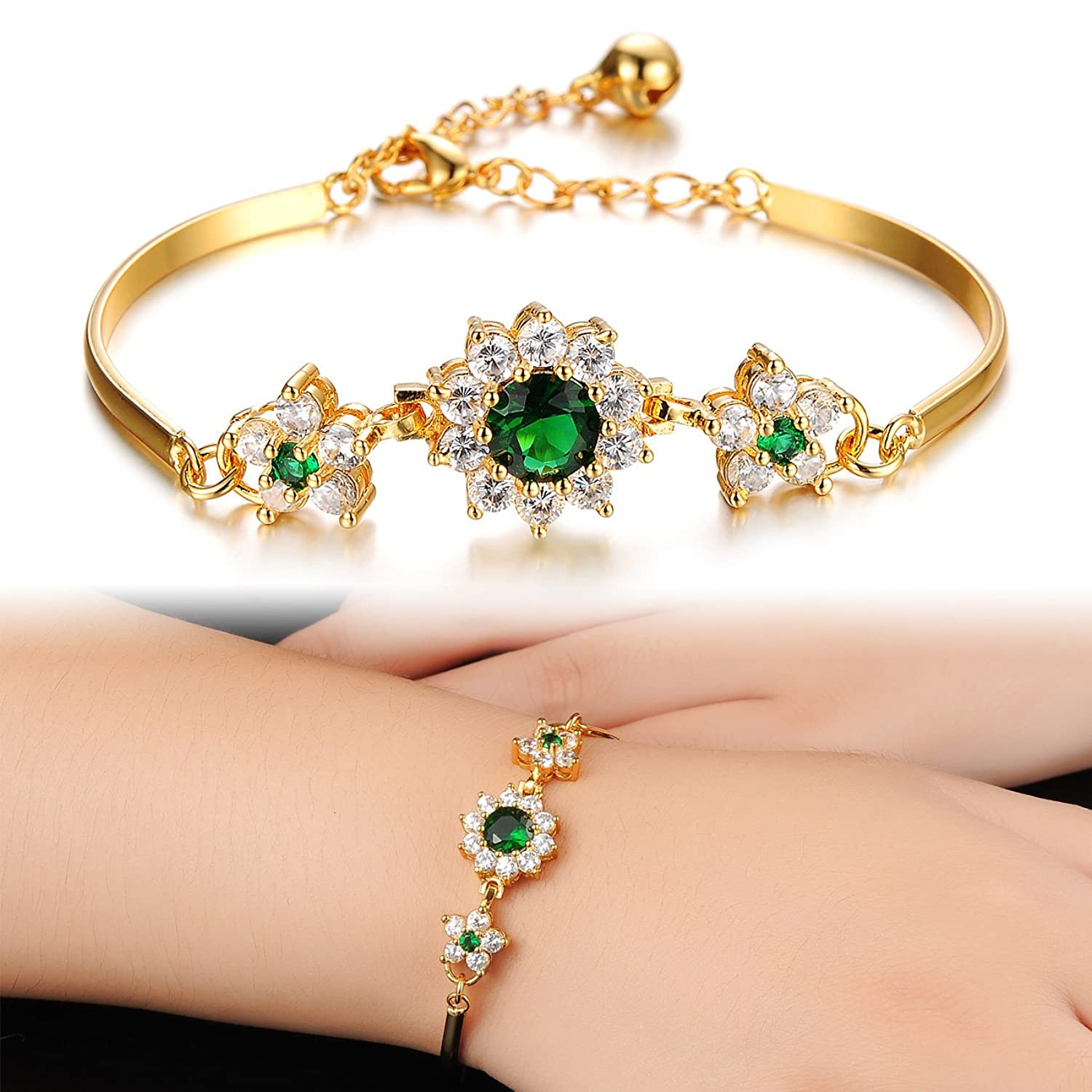OPK Jewellry Magnificent 18K Gold Plated Shining Green AAA+ ...