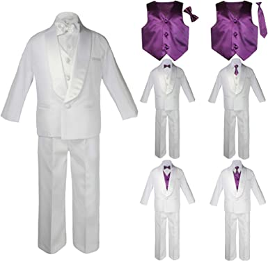 Unotux New Born Baby Toddler Kids Boy Teen Formal White Shawl Lapel Suit Set Satin Necktie Sm-20