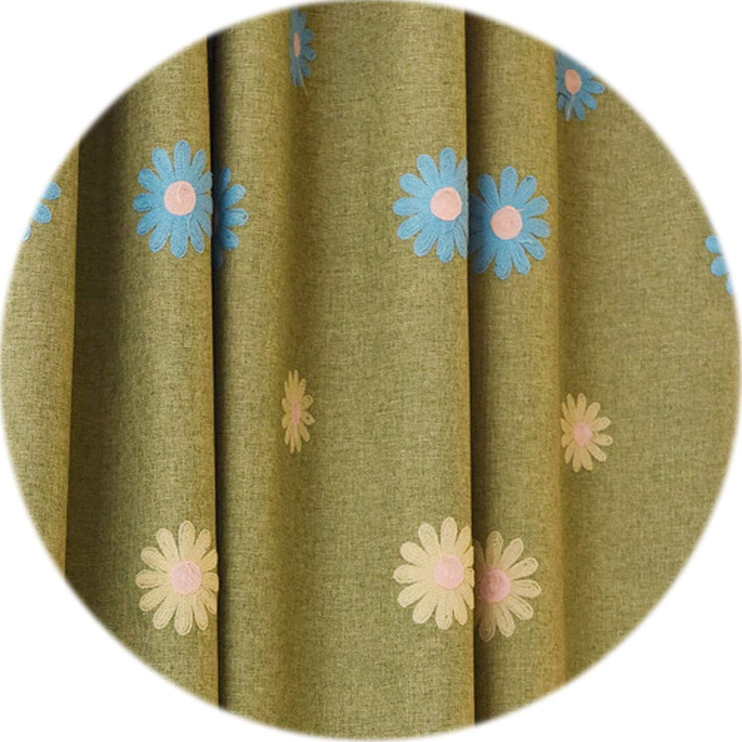 No Buy No Bye Embroidered Curtains Linen Children Room Girl Bedroom Blue Green Blackout Curtain Drape Floral Short Window Curtains,Green Thick Curtain,W500cm L270cm,4 Pull Pleated Tape
