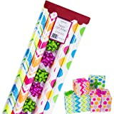 Gift Wrapping Paper – All Occasion Wrapping Paper – Wrapping Paper with Patterns - Premium Neon Gift Wrap for Boys, Girls, 4 Rolls - 2.5 ft x 10 ft per roll, Includes 7 Bows, 2 Rolls of Ribbon