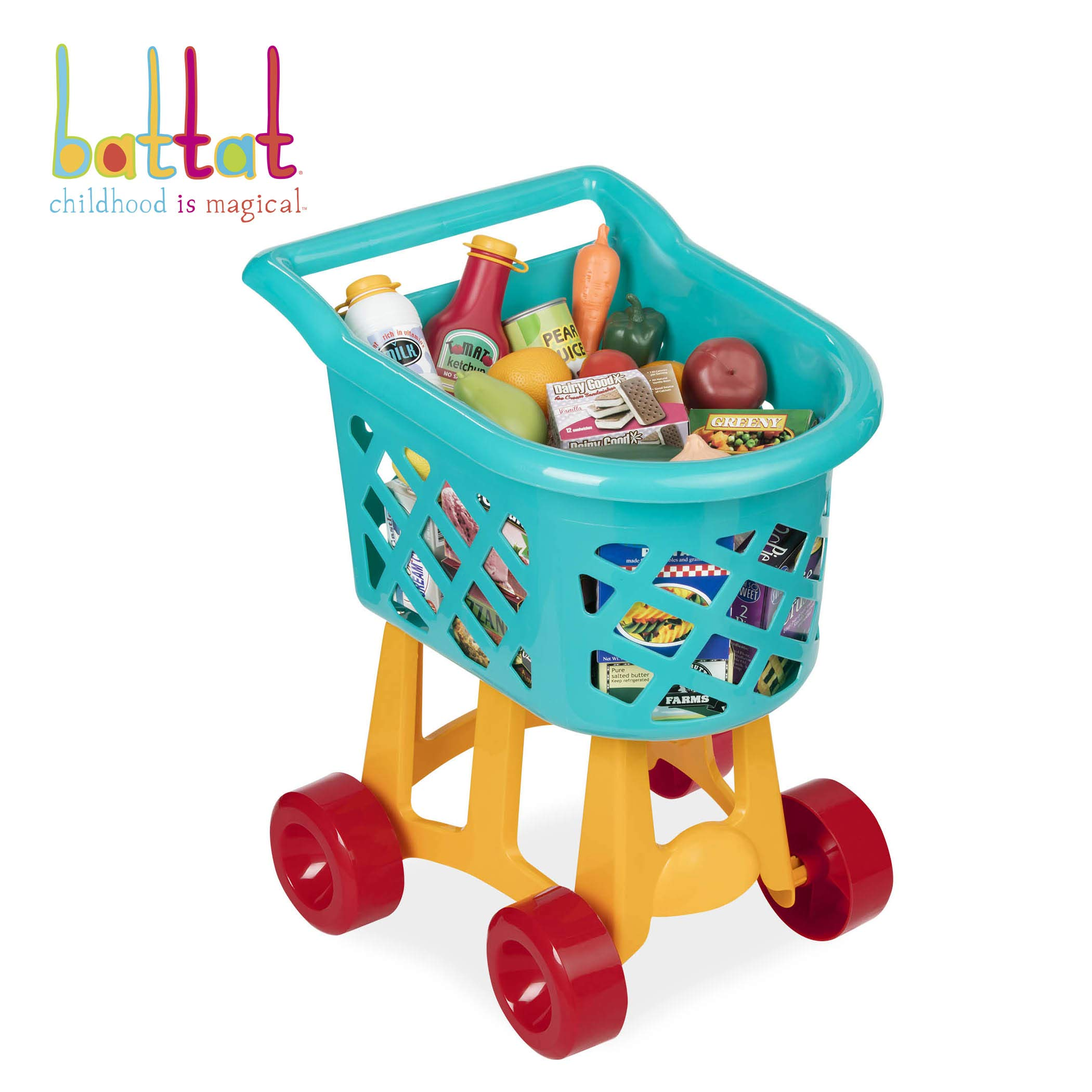 Battat Grocery Cart - Deluxe Toy Shopping Cart with Pretend Play Food Accessories for Kids 3+ (23-Pieces)