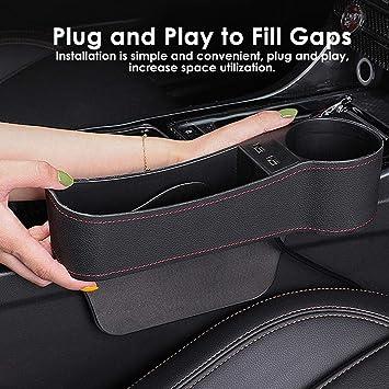 Flaschenhalter und 2 USB-Ladeanschl/üssen f/ür Mobiltelefone geeignet f/ür L/ücken zwischen 0,5 und 1,1 Zoll lesgos Car Gap Filler weniger multifunktionaler Autotaschen-Organizer mit M/ünzfach