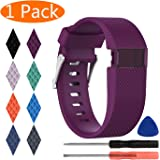 KingAcc Fitbit Charge HR Bands, Silicone Accessory Replacement Band for Fitbit Charge HR, With Metal Buckle Fitness Sport Wristband Strap Women Men Large Small Black, Orange, Gray, Blue, Purple