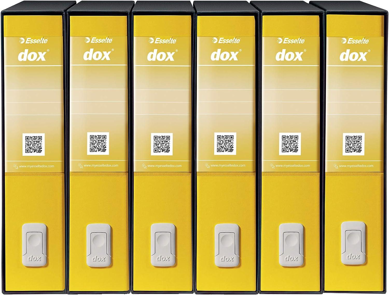 Esselte D26206 Dox 2 Registratore a Leva Formato Protocollo Confezione da 6 Giallo