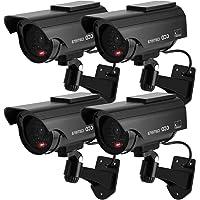 TOROTON 4 Packs Fake Factice de Sécurité CCTV avec Clignotant Rouge Lumière LED