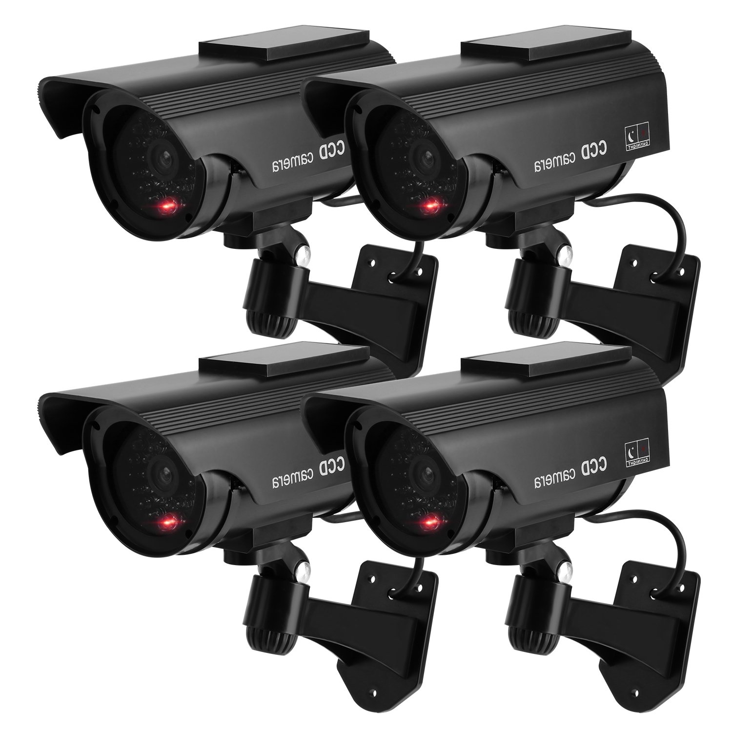 TOROTON Bullet Dummy Fake Security CCTV Solar Powered Camera Simulation Monitor with LED Blinking Light,Outdoor/Indoor Use for Homes & Business,4 Pack by TOROTON
