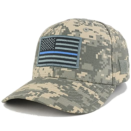 Thin Blue Line Tactical Embroidered USA Flag Patch Adjustable Structured  Operator Cap - ACU ac7d35c61df6