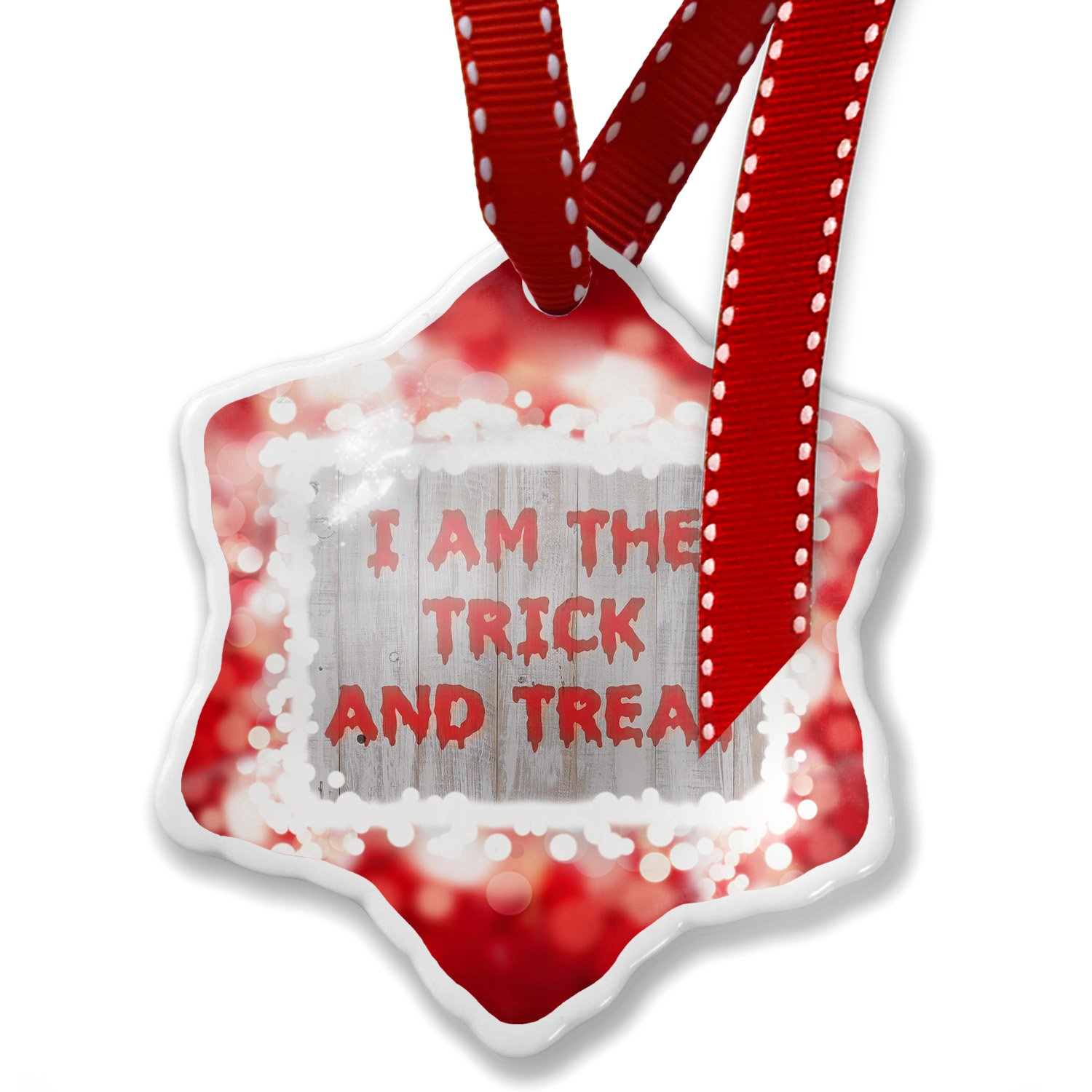 Christmas Ornament I am the Trick and Treat Halloween Bloody Wall, red - Neonblond