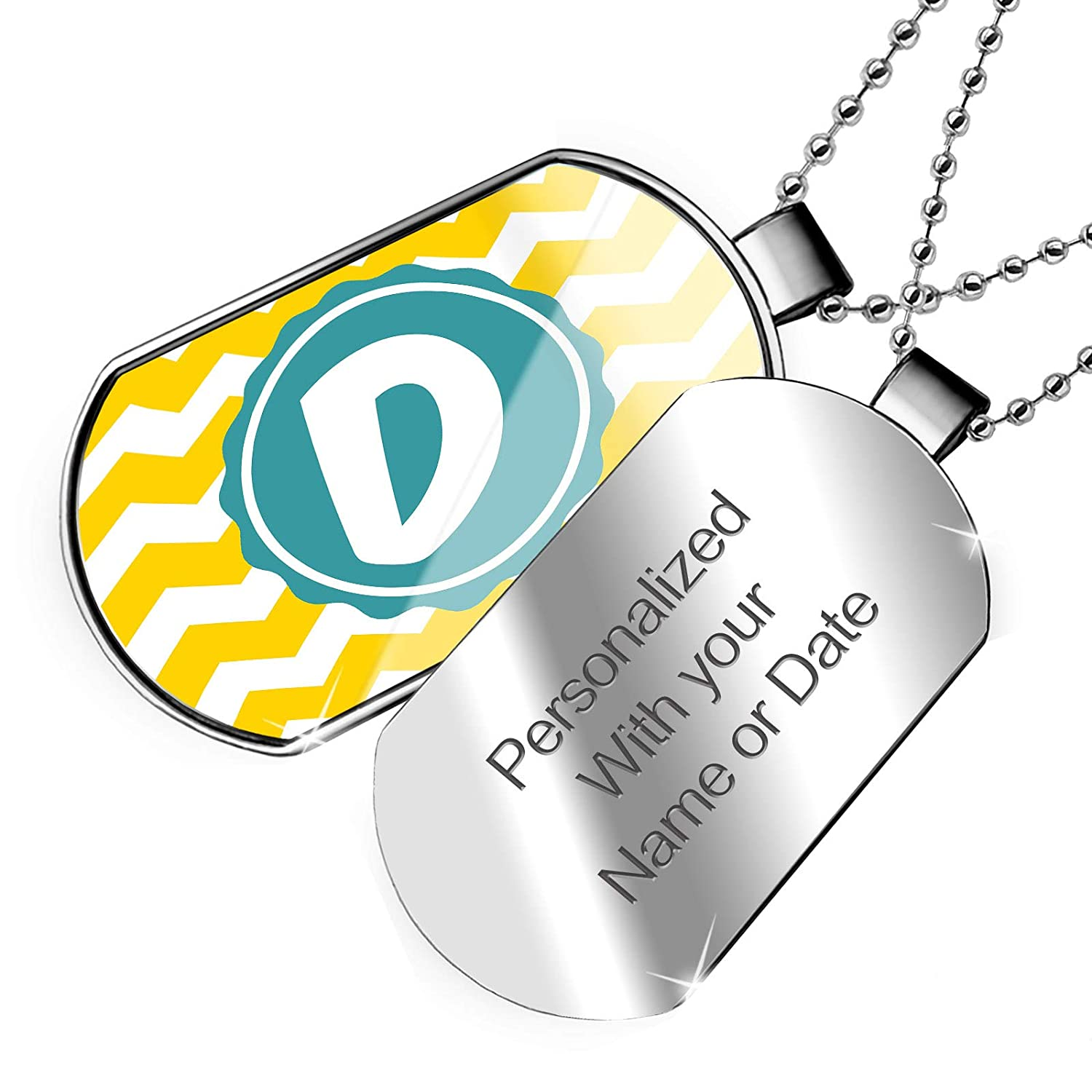 NEONBLOND Personalized Name Engraved Monogram D Yellow Chevron Dogtag Necklace