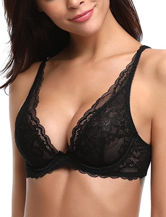 2a73da16ae36f Deyllo Women s Sheer Lace Sexy Low-Cut Unlined Underwire Bra(Black ...