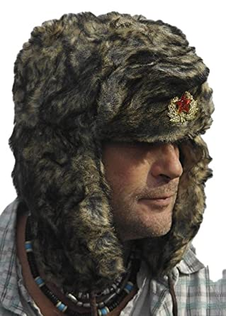 Classic Russian army style Ushanka - Trapper style hat Sz 59cm (Large)  Brown  Amazon.co.uk  Clothing fca0cda4aac